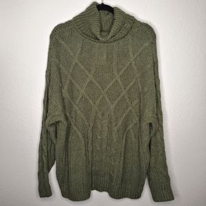 Favlux Fashion Green Cable Knit Cowl Neck Sweater
